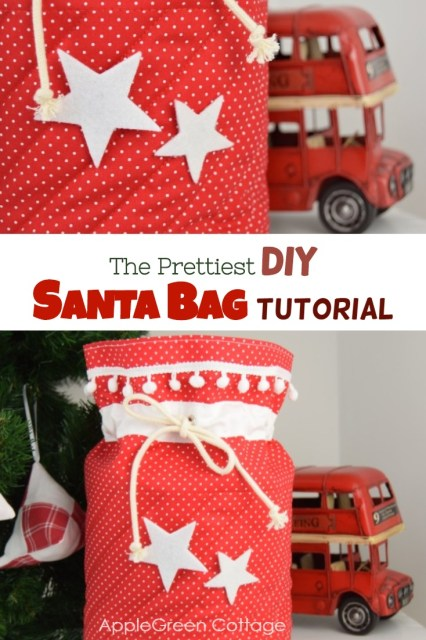 Santa bag - the cutest Santa sack you've ever made! Sew your diy Santa bags using this tutorial. Make your Christmas decor even prettier!!