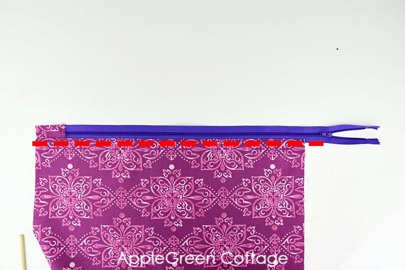 add zipper to diy storage bag