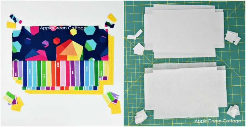 pieced zipper pouch with boxed corners