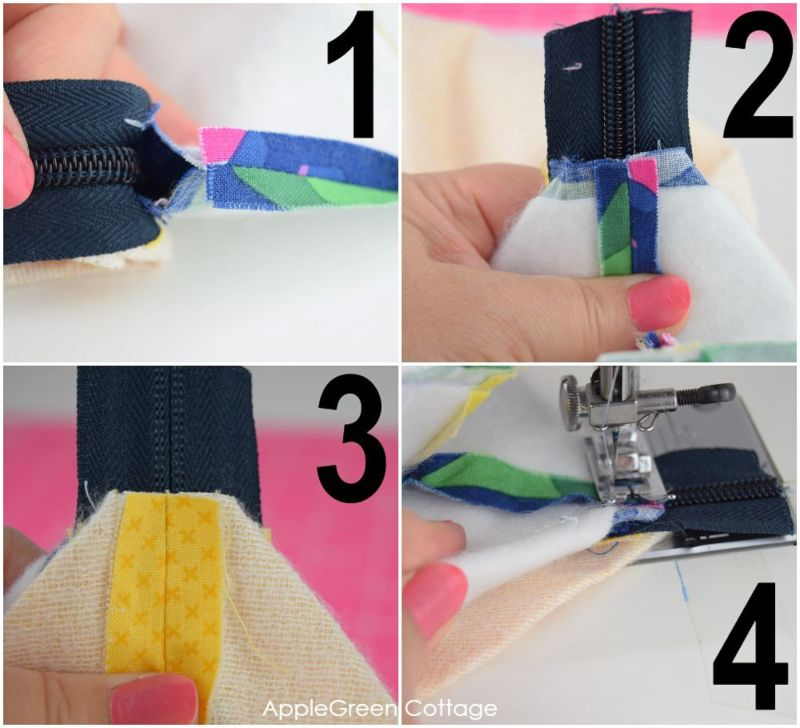 how to add zipper to zippered pouch