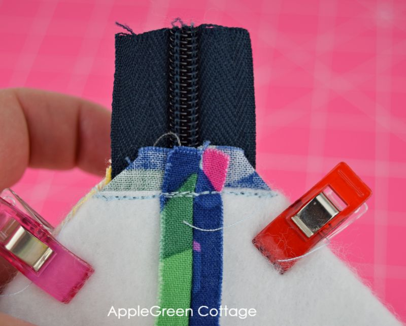 box corners on zippered pouch