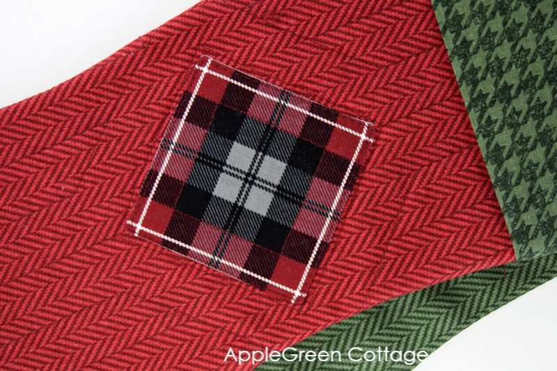 turned edge appliques sewn on fabric