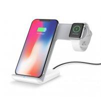 Stojánek s rychlým bezdrátovým nabíjením pro iPhone / Apple Watch - bílo-šedá