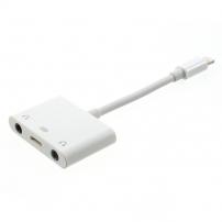 Redukce lightning konektor s dvěmi 3,5 mm jack konektory a lightning konektorem pro Apple iPhone / 8 / 8 Plus / 7 / 7 Plus