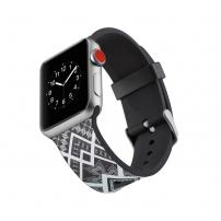 Silikonový řemínek pro Watch 38mm/40mm - černý s bílým vzorem