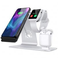 Bestand stojánek pro rychlé bezdrátové nabíjení iPhone / Watch / AirPods - stříbrný