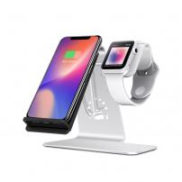 Bestand stojánek pro bezdrátové nabíjení iPhone / Apple Watch - stříbrný