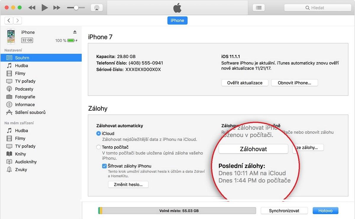 iPhone - zálohování přes iTunes