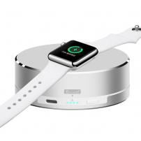 3 v 1 powerbanka, nabíjací stojanček a ochranné puzdro pre Apple Watch – strieborná