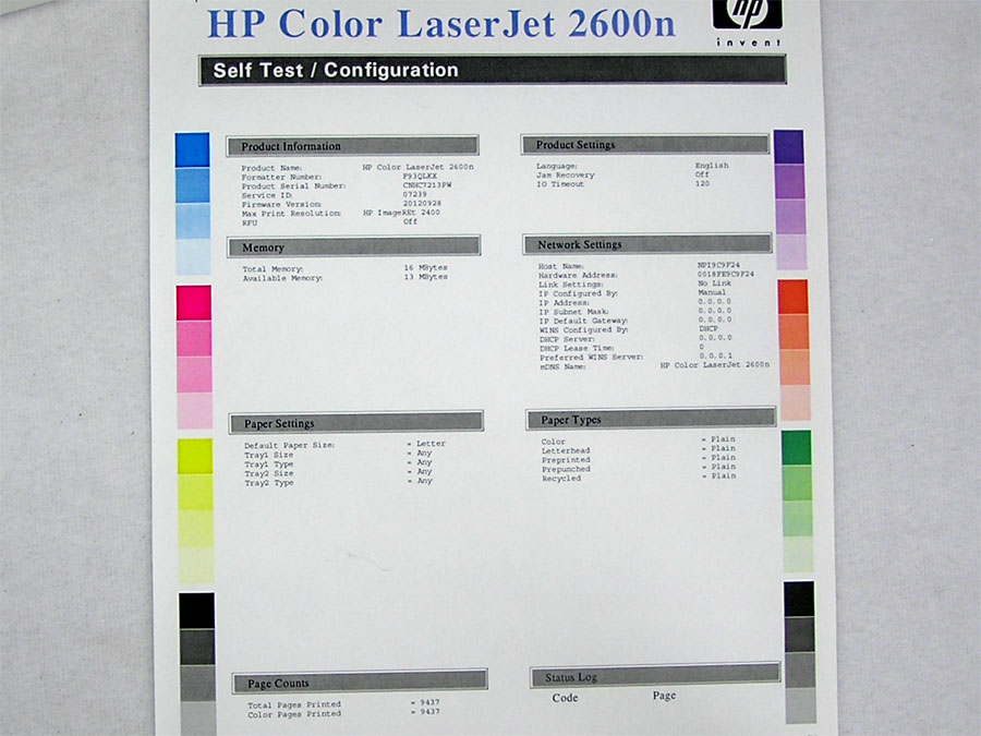 HP Color LaserJet 2600N Printer USB First Page Out Speed Is 20 Seconds