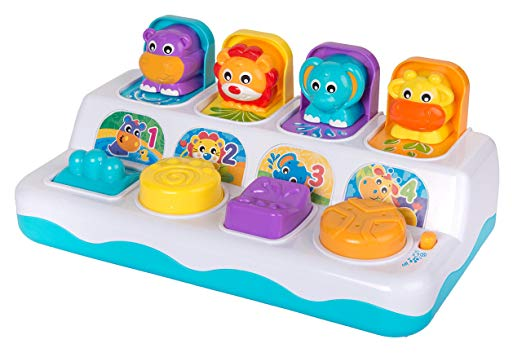 Gifts for 10 and 11 month olds. The perfect gifts for babies 40 to 52 weeks old. This popping box is so fun and engaging for little kids.
