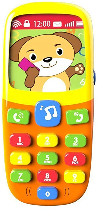 Holiday Gift Guide for Babies 6 and 7 months old. The perfect gits for babies 24-32 weeks old. A fake cell phone that talks and sings to you.