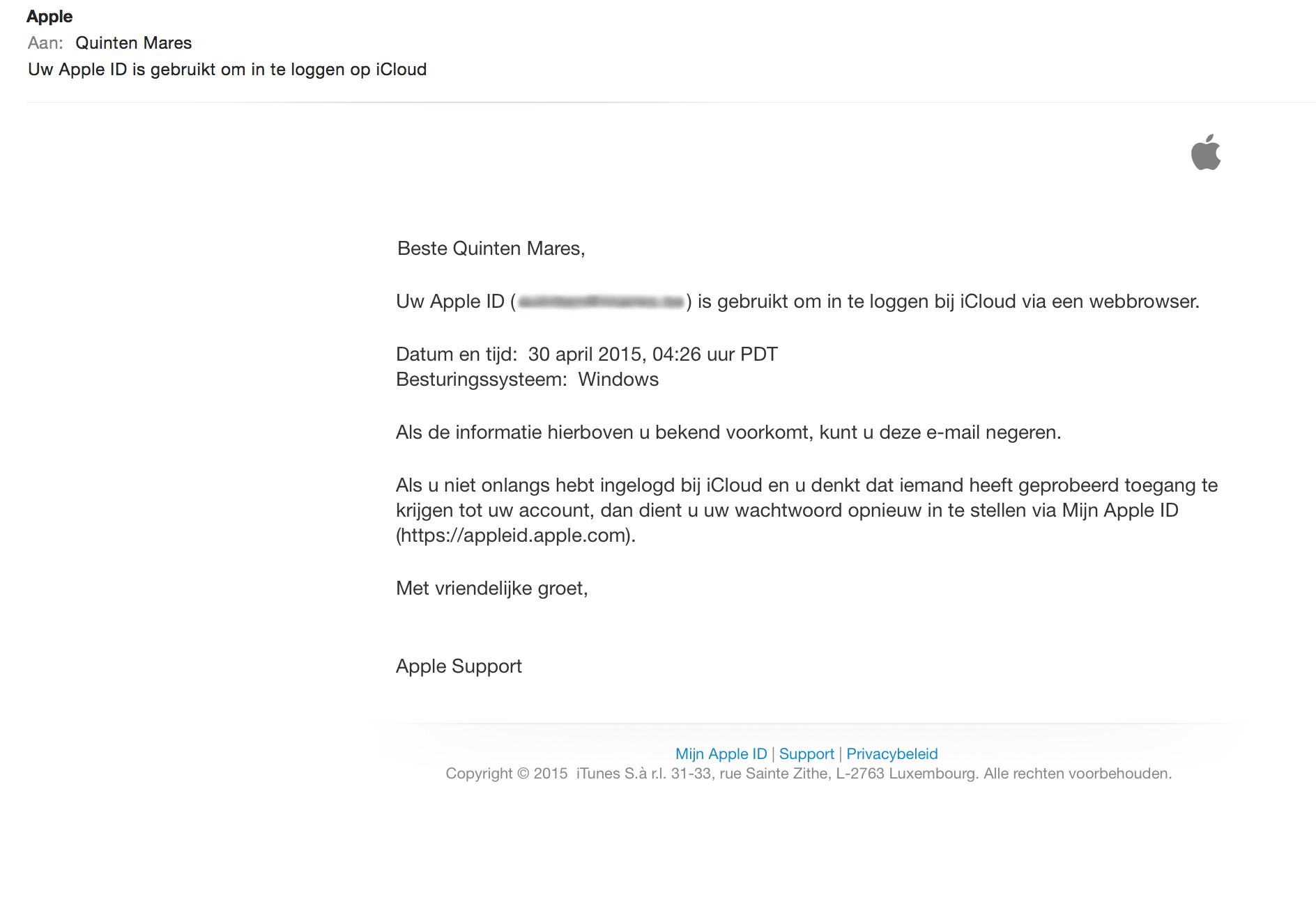 Phishing Mail Apple