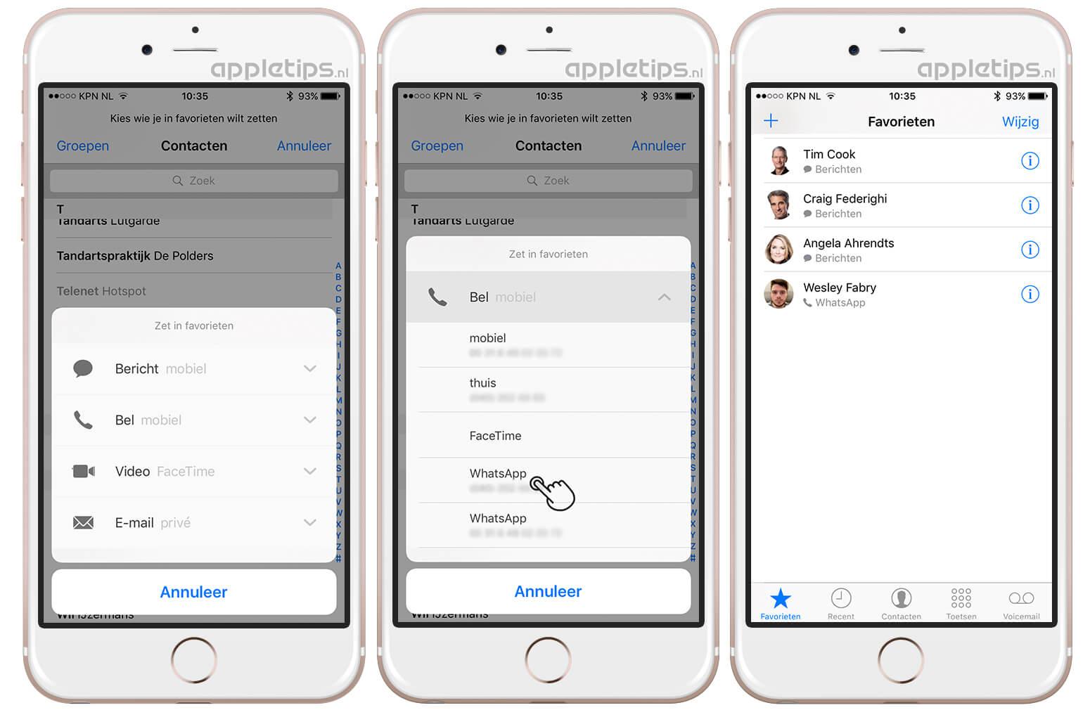8e76e9cc392 WhatsApp bellen toevoegen aan Telefoon favorieten iOS - appletips