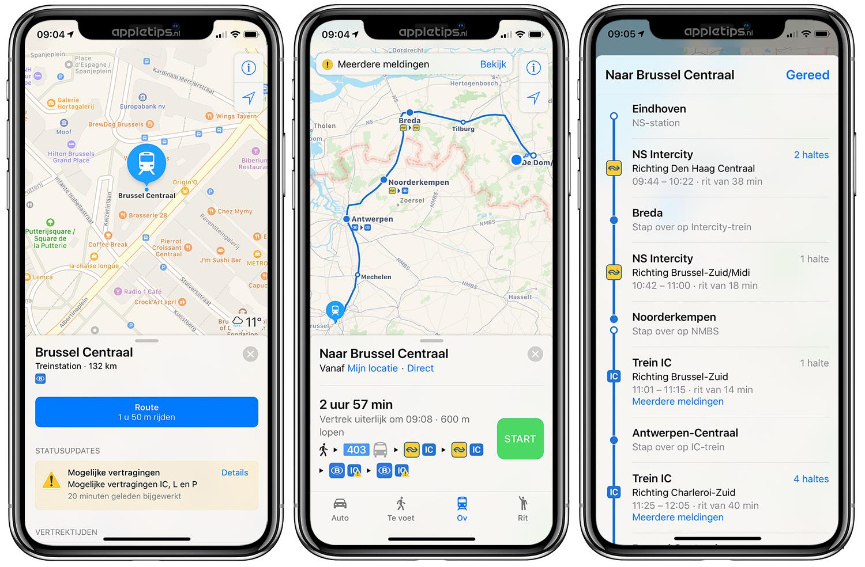 route uitstippelen op kaart Nederlandse OV informatie bekijken en routes in Apple Kaarten