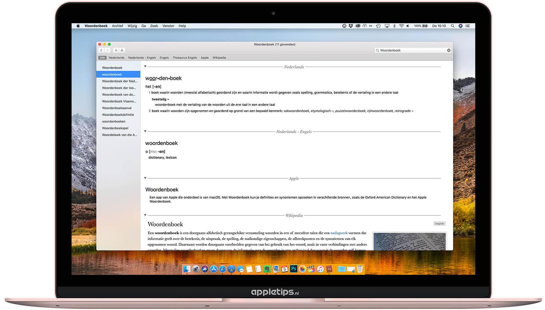 De Woordenboek Applicatie Gebruiken Op Een Mac Appletips