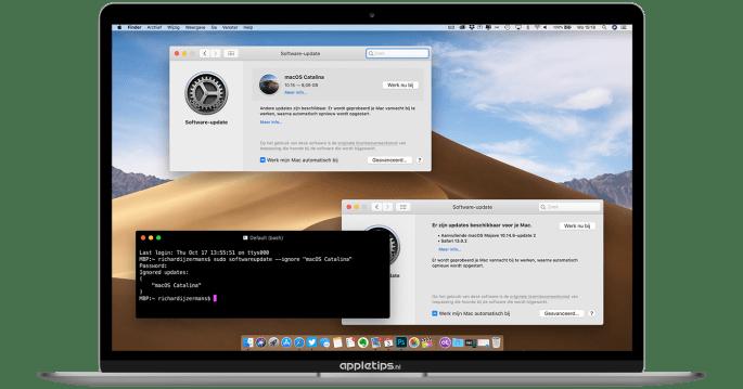 macOS Catalina-update melding verwijderen uit Systeemvoorkeuren
