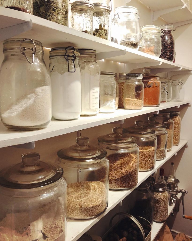 shelves of dried goods in the pantry.