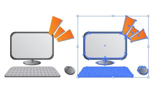 パソコン/モニター・マウス・キーボード イラレ/ベクトルデータ