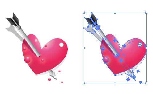 ハートと矢 イラレ/ベクトルデータ
