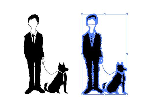 スーツの人と犬のイラスト