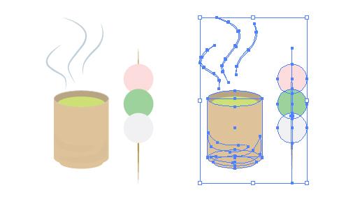 お茶と串団子イラスト