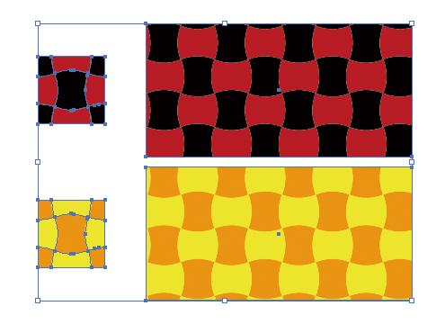 ワープで少し変形させた市松模様風パターン