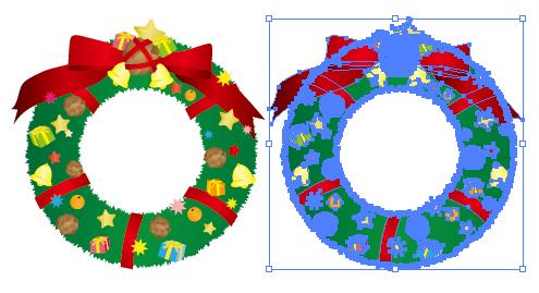 クリスマスリース飾りのイラスト