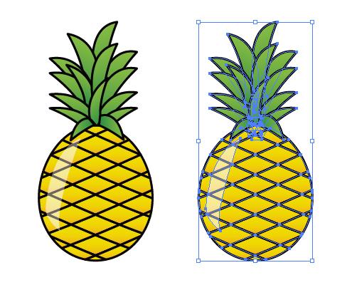 南国の果物艶やかなパイナップルのイラスト