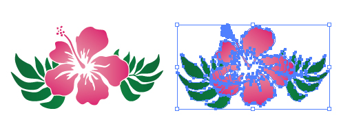 ピンク色のハイビスカスのイラスト素材 無料配布イラレ
