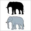 牙のある象のイラストと影絵素材