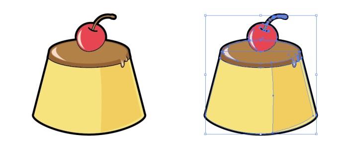 さくらんぼが置かれたプリンのイラスト