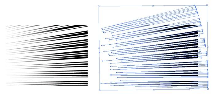 右から左に流れるグラデーションを使用した効果線素材
