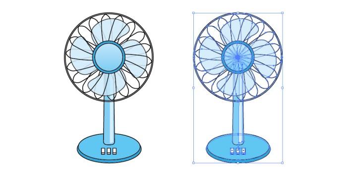 羽根型の扇風機のイラスト 無料配布イラレイラストレーター