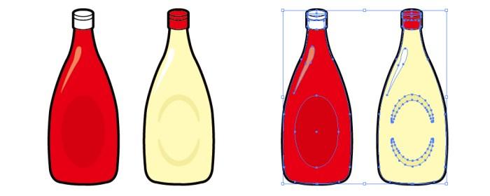 マヨネーズとトマトケチャップのイラスト