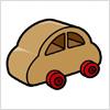木でできた車のおもちゃのイラスト