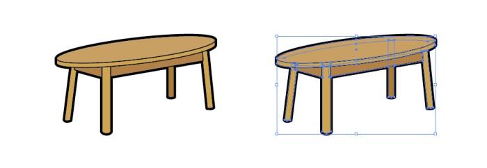 楕円形のテーブルのイラスト