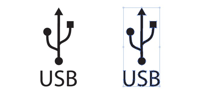 USB(ユニバーサル・シリアル・バス)のロゴマーク