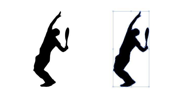 サーブを打つ寸前のテニスプレーヤーの影絵イラスト