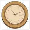 木製の掛け時計のイラスト