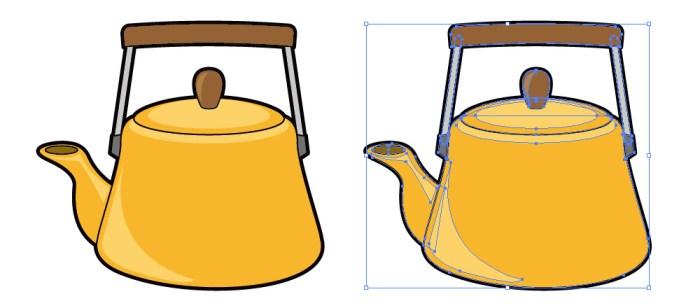 オレンジ色のケトルのイラスト