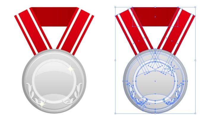 赤い帯のついた銀メダルのイラスト