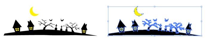 ハロウィン的な夜のイラスト背景素材