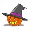 黒いとんがり帽子を被ったかぼちゃのハロウィンイラスト