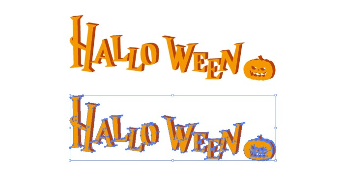 HALLOWEEN(ハロウィーン)の英語スペル立体文字イラスト