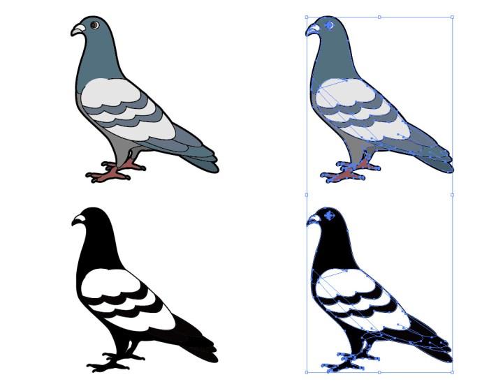 鳩のイラストと影絵素材