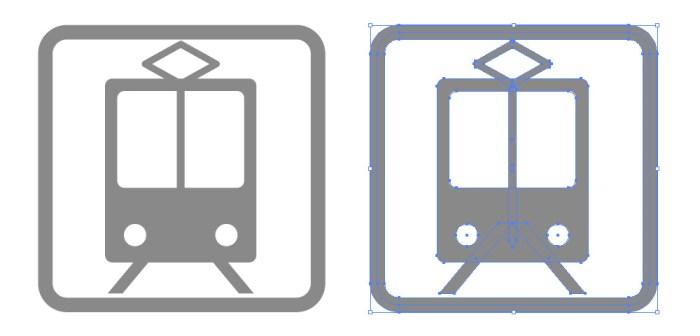 電車・駅・地下鉄の簡易アイコンイラスト