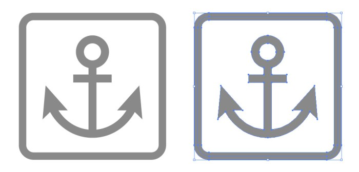 船舶船着場錨の簡易アイコンイラスト イラレeps素材