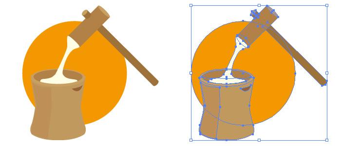 臼と杵の餅つき もち モチ イラスト