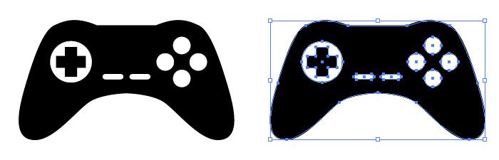 ゲームコントローラーのアイコンイラスト